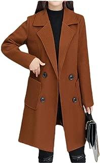neveraway Womens Custom Fit Mid Long Plus Size Woolen Trench Coat Parka Jacket