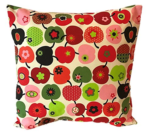 TryPinky Handmade Kissenbezug 40 X 40 cm Apfel Rot Grün Kissenhülle für Kissen 100% Baumwolle BW Türkis Orange Grün Äpfel Zierkissenbezug Sommer Frühling Gartenkissen Kinderkissen