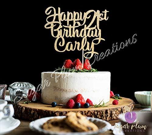 Heart Cake Topper Custom Cake Topper Birthday Cake Topper Birthday Any Number Personalized Glitter Happy Birthday Cake Topper