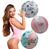 Set of 3 Flamingo Inflatable Float Balls, Bachelorette Party, Theme Party Supplies Decoration for Summer Birthday Pool Party Indoor Outdoor, Girls Pool Summer Mermaid Party Decoration