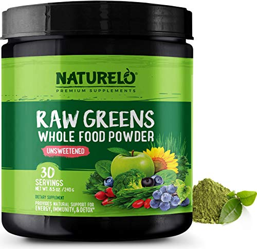 NATURELO Raw Greens Superfood Powder - Unsweetened - Spirulina, Chlorella, Wheat Grass, Fibre Blend, Acai, Ancient Herbs, Botanicals & Antioxidants - Nutritious Formula - 30 Servings | 1 Month Supply