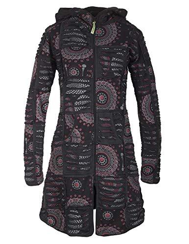 Vishes - Alternative Bekleidung - Damen Hippie Patchworkmantel Baumwolle Cutwork Druck Zipfelkapuze schwarz 44