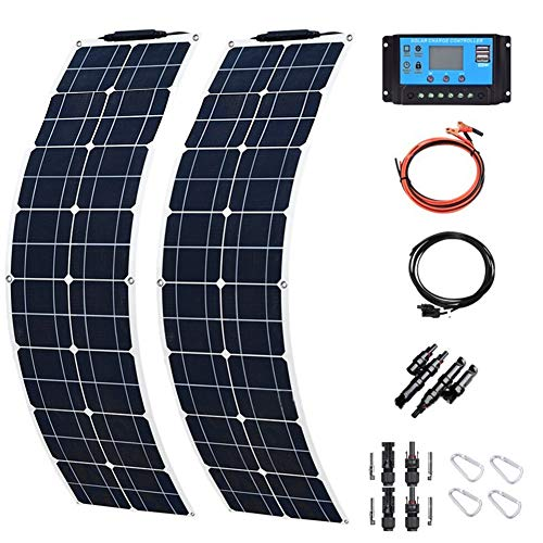 ZHENAI 2 * 50W Monocrystalline Solar Panel Kit, Ultra Lightweight Solar Module with Solar Charge Controller, for Charging 12v Battery Camping Caravan Car RV Boat Home