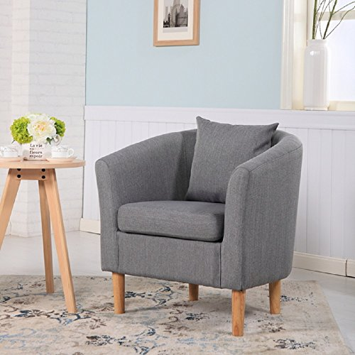 York Fabric Tub Chair Armchair Dining Living Room Office Reception Dark Grey