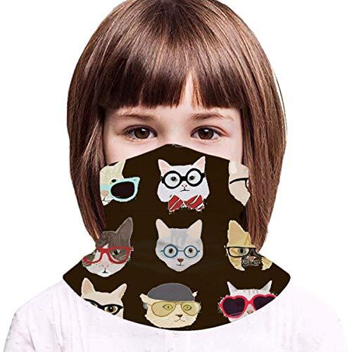 WH-CLA Niños Cuello Polaina Lindo Doodle Gatos En Gafas Niños Cuello Bufanda Elegante Calentador De Cuello Respirable Pasamontañas Cómodo Bufanda para Ciclismo Partido Caza