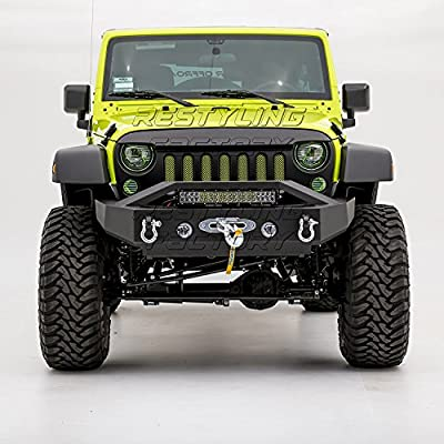 "Restyling Factory 07-17 Jeep Wrangler JK Black Textured Rock Crawler Stubby Front Bumper with OE Fog Light Hole, with 21"" LED Light bar, Winch Mount Plate"