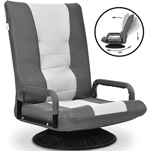 Giantex 360 Degree Swivel Gaming Floor Chair w/Armrests, Adjustable 6-Position Folding Floor Chair, Padded Backrest Great for Games Reading, Lazy Sofa Lounger for Teens Adults (Gray) chairs Dining Features Game Kitchen Video