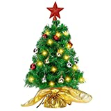 """Joiedomi 23"""" Prelit Tabletop Christmas Tree with 100 Branch Tips and DIY Kits (50 LED String Lights, Red Star Treetop & Ornaments) in Gold Cloth Bag for Best Indoor Christmas Holiday Decorations"""