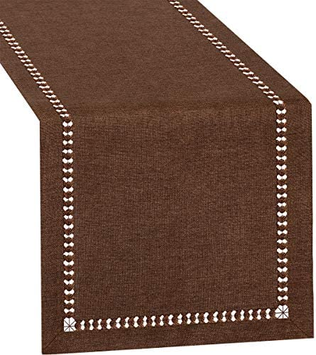 Grelucgo Small Short Hemstitch Chocolate Brown Table Runner Dresser Scarf Solid Color 14 x 36 product image