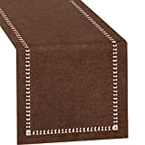 Grelucgo Small Short Hemstitch Chocolate Brown Table Runner, Dresser Scarf, Solid Color (14 x 36 Inch)
