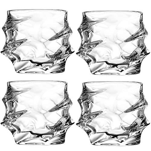Juego de 4 vasos de cristal de whisky de 10 onzas elegantes para cócteles Brandy Rock estilo antiguo de vidrio para barreras