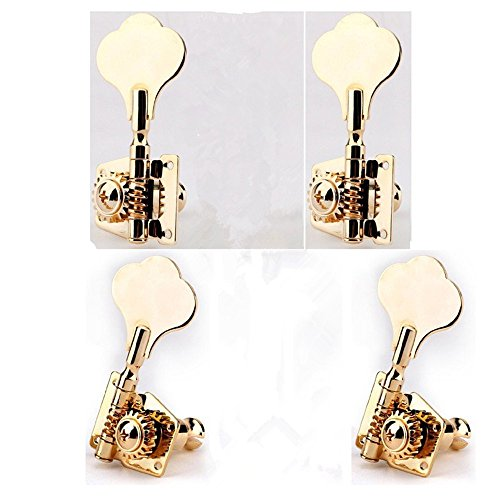 Usany 2+2 Bass Vintage Open Gear Tuner Tuning Keys Pegs Machine Head Right Hand for Jazz P Bass Guitar Parts, Gold