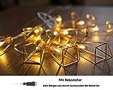CozyHome Kupfer geometrische LED Lichterkette – 6 Meter | Mit Netzstecker NICHT batterie-betrieben | 20 LEDs warm-weiß | rose gold pyramidenform - kein austauschen der Batterien | Rosegold Deko - 7