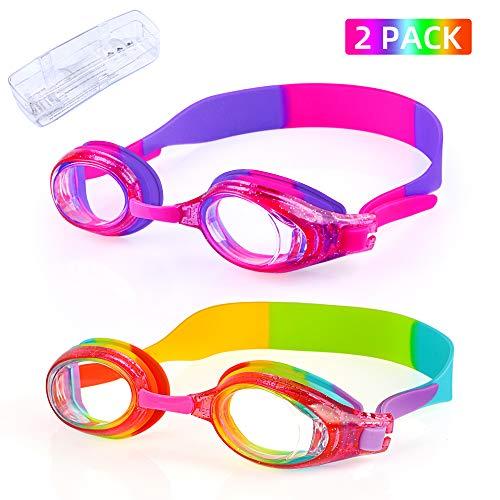 Gafas de natación para niños con protección UVA/UVB y junta de silicona suave para niños de 3 a 14 años