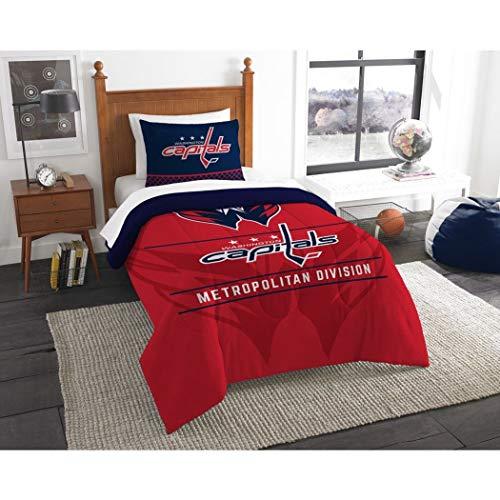 B62830000 570B6783000001 EN 2 Piece Hockey League Capitals Comforter Twin Set, Sports Patterned Bedding, Team Logo Fan Merchandise Athletic Team Spirit, Red White Blue, Polyester Unisex