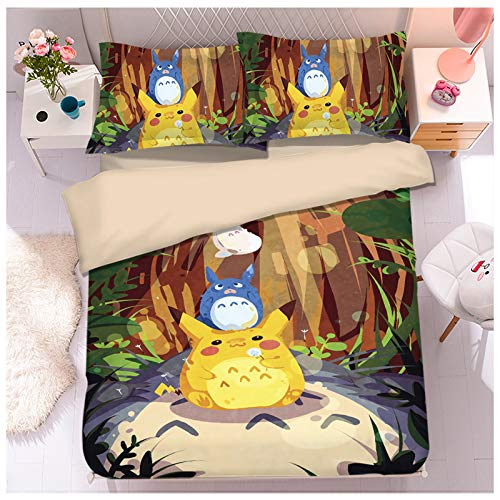 YRRA Dibujos Animados Gato Totoro Cuatro Piezas Ropa Cama, Lecho Juego Sábanas Funda Almohada Tamaño Gigante Grueso Calentar Sedoso Cómodo, para El Dormitorio La Casa,L,Single