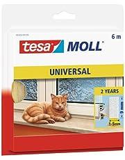tesa moll Universele schuimrubberen afdichting voor het isoleren van kieren in het huishouden, zelfklevend, wit, 6 m x 9 mm x 5,5 mm