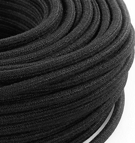 MeToo Design Câble électrique H03VV-F, rond, style vintage, avec gaine de tissu noir brut, section 2x 0,75mm², pour lustres, lampes, abat-jour, design - Produit fabriqué en Italie