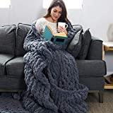 "Chunky Knit Blanket - Large Super Soft Chenille Throw (60""x72"") - Blankets and Throws for Bed, Sofa or Couch - Extra Thick Tightly Woven Cozy Knitted Throw - Dark Grey Oversized Throw Blanket"