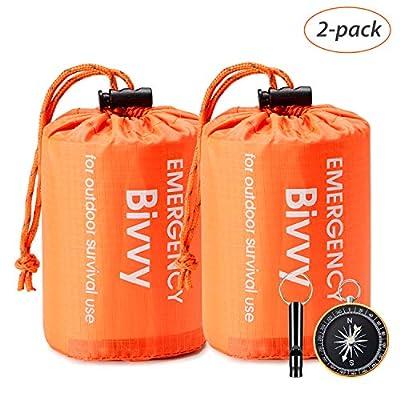 Esky Emergency Sleeping Bag, Waterproof Lightweight Thermal Bivy Sack, Survival Blanket Bags Portable Nylon Sack for Camping, Hiking, Outdoor(2 Pack)