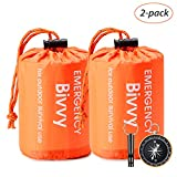 Esky Emergency Sleeping Bag, Waterproof Lightweight Thermal Bivy Sack, Survival Blanket Bags Portable Nylon Sack for Camping, Hiking, Outdoor(2 Pack)