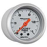 Auto Meter (4302) Ultra-Lite 2-1/16' 0-15 PSI Mechanical Boost Gauge