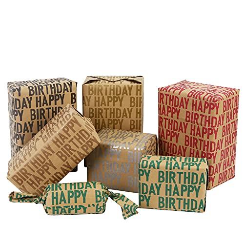 Lausatek Papel Kraft para Cumpleaños,6 Hojas de Papel de Regalo Reciclado Marrón Plegado con Diseño de Letra para Cumpleaños 50x70cm