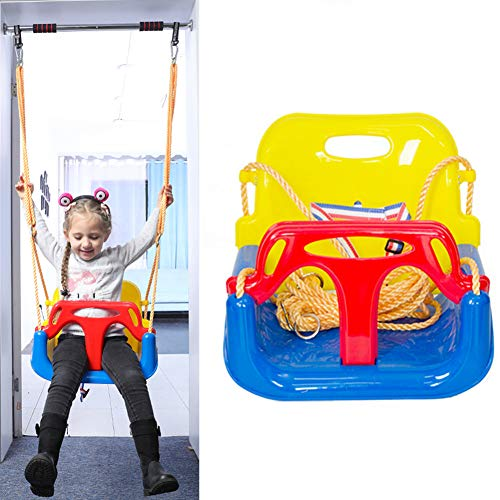 3En1 Silla De Columpio 40X43x33cm Bebé Niño Infantil 6-72 Meses Azul-Amarillo Balancín Asiento para Columpio con Protección Delantera (Azul)
