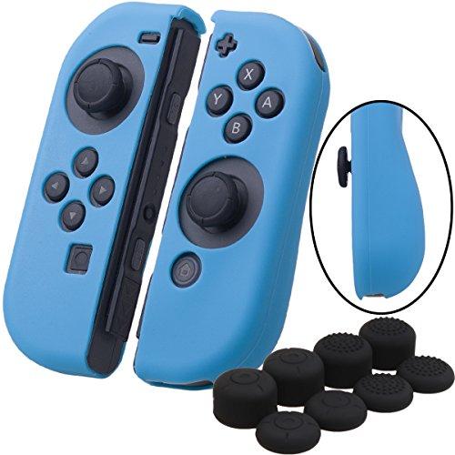 YoRHa Handgriff Silikon Hülle Abdeckungs Haut Kasten für Nintendo Switch/NS/NX Joy-Con controller x 2(blau) Mit Joy-Con aufsätze thumb grips x 8