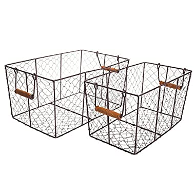Harvest Metal Wire Rectangular Basket Set with Handle -Small and Large