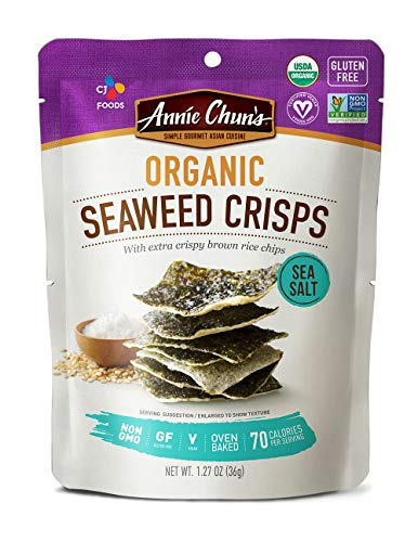 Annie Chun's Organic Seaweed Crisps, Sea Salt, Non-GMO, Gluten-Free, Oven-Baked, 1.27-Oz (Pack Of 10), Sea Salt, 10Count