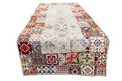 Generico Camino de mesa – Mantel para mesa – Varios diseños – Tejido Gobelin Jacquard de alta calidad – Hecho a mano – Fabricado en Italia (Runner cuadrados pequeños)