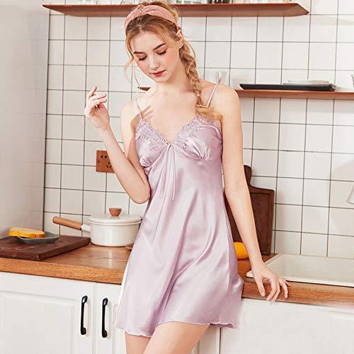 Pijama Corto de Seda Satinada para Mujer Vestido de Noche de Verano sin Mangas para Mujer Pijama Decorativo de Encaje Fushcia L