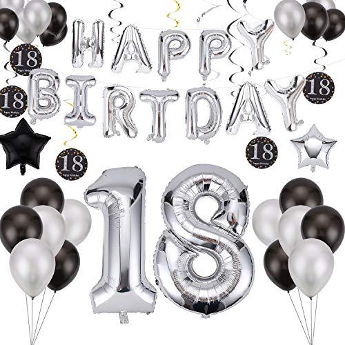 Ulikey 18 Decorazioni Festa di Compleanno, Compleanno Decorazioni Palloncini, Happy Birthday Lettere Alfabeto Balloon, Happy Birthday Decorazione, Decorazione Adatta per Tutti Gli Adulti (Silber)