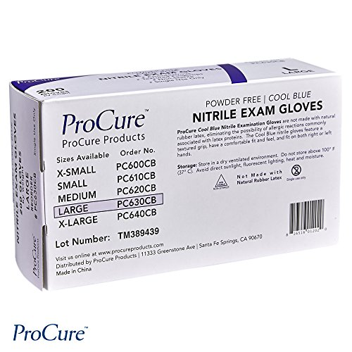 ProCure Disposable Nitrile Gloves Large, 200 Count - Powder Free, Rubber Latex Free, Medical Exam Grade, Non Sterile, Ambidextrous - Soft with Textured Tips - Cool Blue