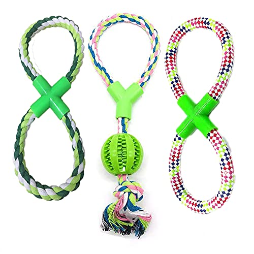 Dog Rope Toys, 3 Packs of Dog Chew Toys for Small, Medium to Large Dog Tug of War Rope Toy, Dog Ball on a Rope, Dog Chew Toys for Aggressive Chewers, Puppy Teething Chew Toy