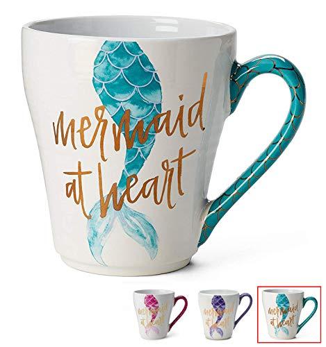 Ceramic Reusable Coffee/Tea Mug: Cute Novelty Mermaid at Heart Hot Coffee or Tea Cup (Teal)
