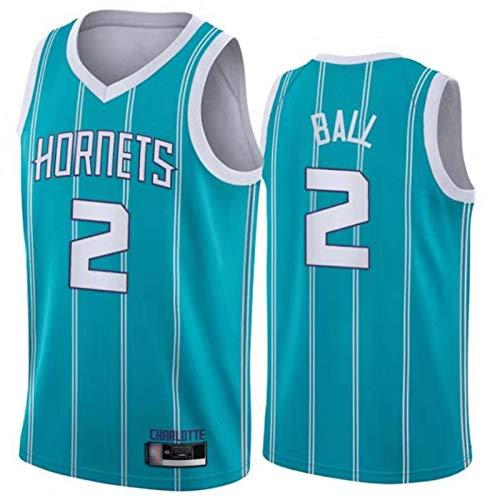 ADHA Conjunto De Camiseta De Baloncesto Charlotte Hornets # 2 LaMelo Ball para Hombre, Uniforme De Baloncesto De La Nueva Temporada De 2021, Camiseta Sin Mangas Unisex De Blue-L