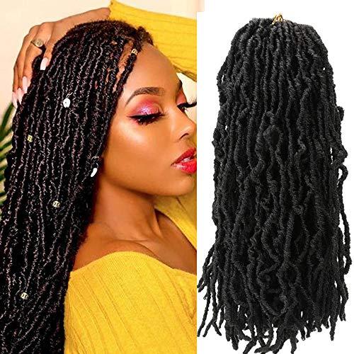 18 Inch New Faux Locs Crochet Hair 6 Packs Curly Goddess Locs Crochet Braids Pre-Looped Faux Locs African Roots Dreadlocs Synthetic Hair Extension Soft Locs Braiding Hair for Women (1B#)