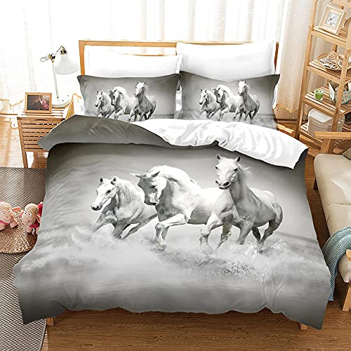 Bedclothes-Blanket Funda nórdica Funda de Colcha,Caso 3D Impresión Digital Animal Ejecutar Caballo Ropa de Cama de Tres piezas-12_150 * 200