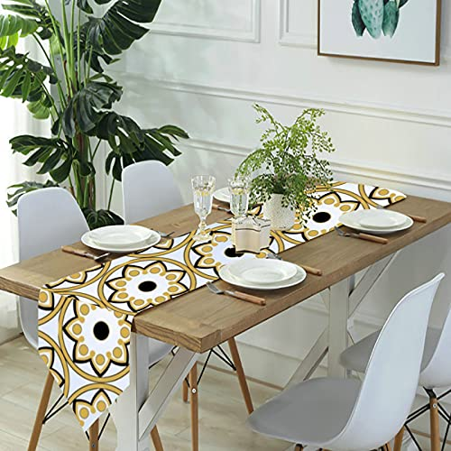 Reebos Camino de mesa de lino para aparador, ventana árabe, camino de mesa de cocina, para cenas de granja, fiestas de vacaciones, bodas, eventos, decoración - 33 x 70 pulgadas