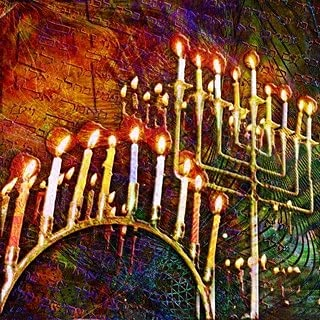 5D Jewish Hanukkah Art Full Drill Round Diamond Painting Kits Embroidery Cross Stitch Mosaic by Numbers Rhinestone Craft Canvas for Home Wall Decor 35x35cm/14×14IN