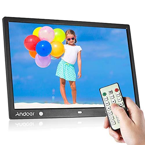 Andoer 15 Zoll Digital Fotorahmen LED Bildrahmen Album Desktop 1280 * 800 HD eBook/Uhr/Kalender mit Bewegungsmelder Sensor, Touch Tasten und Fernbedienung, Weihnachts- und Geburtstagsgeschenk