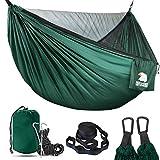 COVACURE Hamaca de camping con mosquitera – Hamacas de viaje ultraligeras para 2 personas para acampar, senderismo, mochilero, versión de actualización de capacidad de 800 libras (verde)