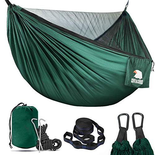 COVACURE Camping Hammock with Mosquito Net - 2 Person Ultra-lightweight Outdoor Travel Hammocks for Camping Hiking Backpacking - 772 LBS Capacity Upgrade Version (Green)