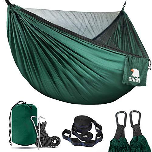 Cosacure, amaca da campeggio con zanzariera, per 2 persone, ultra leggera, da viaggio, per campeggio, escursionismo, zaino in spalla, capacità 350 kg, colore verde