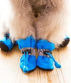 OMEM Bottes de Pluie imperméables pour Chiot, Ensemble de 4 Bottes pour Animaux de Compagnie, Chaussures de Chien imperméables en Tissu Doux (S,Noir)