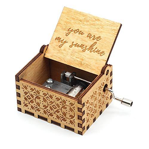 MINGZE Manovella in Legno Music Box meccanismo, varietà di Stili Carillon Creativo Personalizable, Best Gift for Kids Friends (You Are My Sunshine)