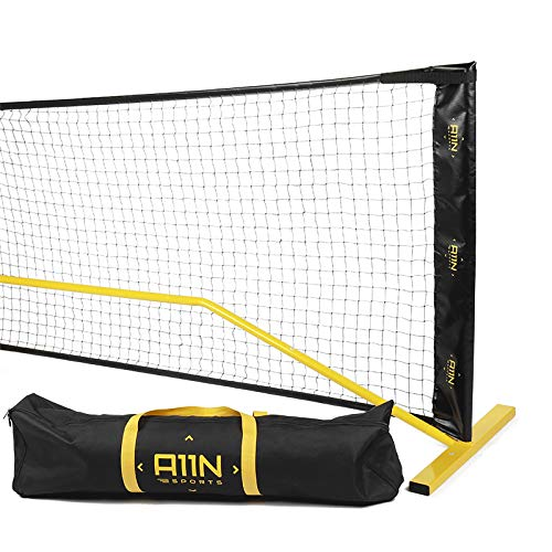 A11N Portable Pickleball Net System, 22ft Regulation Size, Yellow/Black