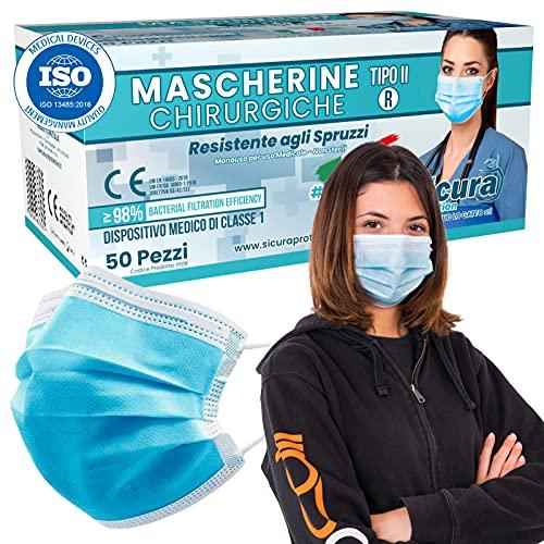 50 Mascherine CHIRURGICHE per Adulti Certificate CE Tipo IIR BFE ≥ 98% Prodotte in Italia - Mascherina Italiana monouso con elastici e nasello regolabile - 5 confezioni da 10 [50 Pezzi]